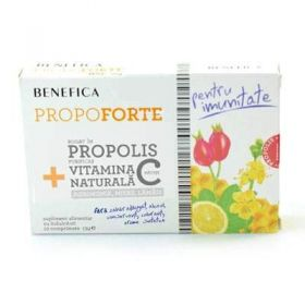 Tablets with Natural Propolis and vitamin C propoforte benefica BioShopRomania