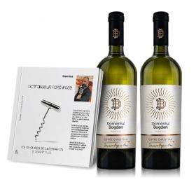 Carte cu autograf si Vin ecologic, Connaisseur fara ifose de Cezar Ioan si Cuvee Christian Domeniul Bogdan, 1 sticla + 1 gratuita