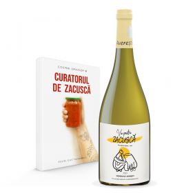 Pachet Carte si Vin, Curatorul de Zacusca texte gastronomice si Vin pentru Zacusca Sauvignon Blanc Domeniile Averesti 750ml