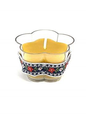 Lumanare candela din ceara naturala in forma de floare, 3,5 cm / 5,5 cm