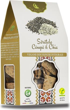 Crackers vegan with hemp and chia seeds BioShopRomania.com