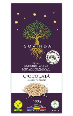 Ciocolata vegana cu susan rumenit GOVINDA 100g